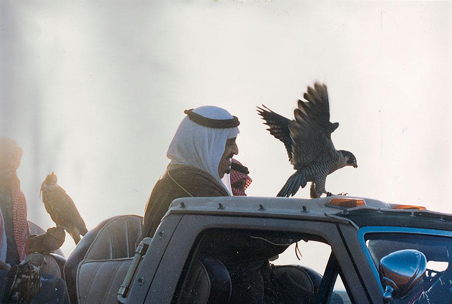 الملك فهد بن عبد العزيز في البر مع الملك سلمان قنص وصقر